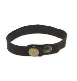 "9""x.5"" Leather Cuff with Snaps : Black"