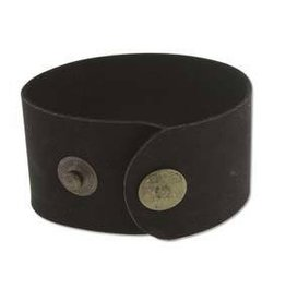 "9""x1.5"" Leather Cuff with Snaps : Black"