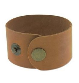 "9""x1.5"" Leather Cuff with Snaps : Tan"