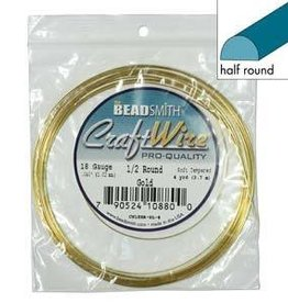 4 YD 18GA Half Round Craft Wire : Gold