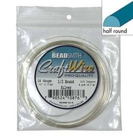 4 YD 18GA Half Round Craft Wire : Silver