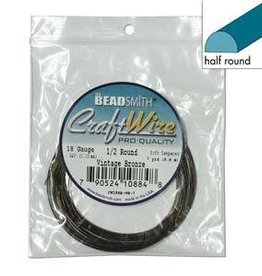 7 YD 18GA Half Round Craft Wire :  Vintage Bronze