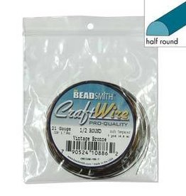 7 YD 21GA Half Round Craft Wire : Vintage Bronze