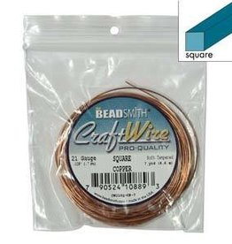 7 YD 21GA Square Craft Wire : Copper