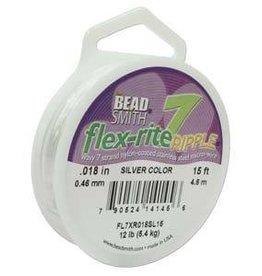"""15 FT .018"""" Flex-Rite Ripple 7 Strand : Silver"""