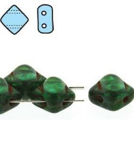 40 PC 6mm 2 Hole Silky : Teal Picasso