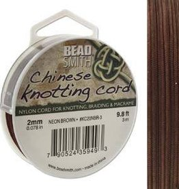 3 Meter 2mm Knotting Cord : Neon Brown