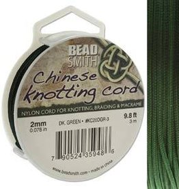 3 Meter 2mm Knotting Cord : Dark Green