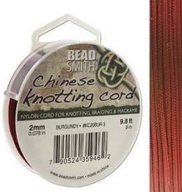 3 Meter 2mm Knotting Cord : Burgandy