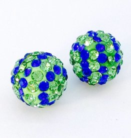 2 PC 10mm Seahawks Bling Ball Lime/Royal Blue