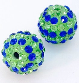2 PC 12mm Seahawks Bling Ball Lime/Royal Blue