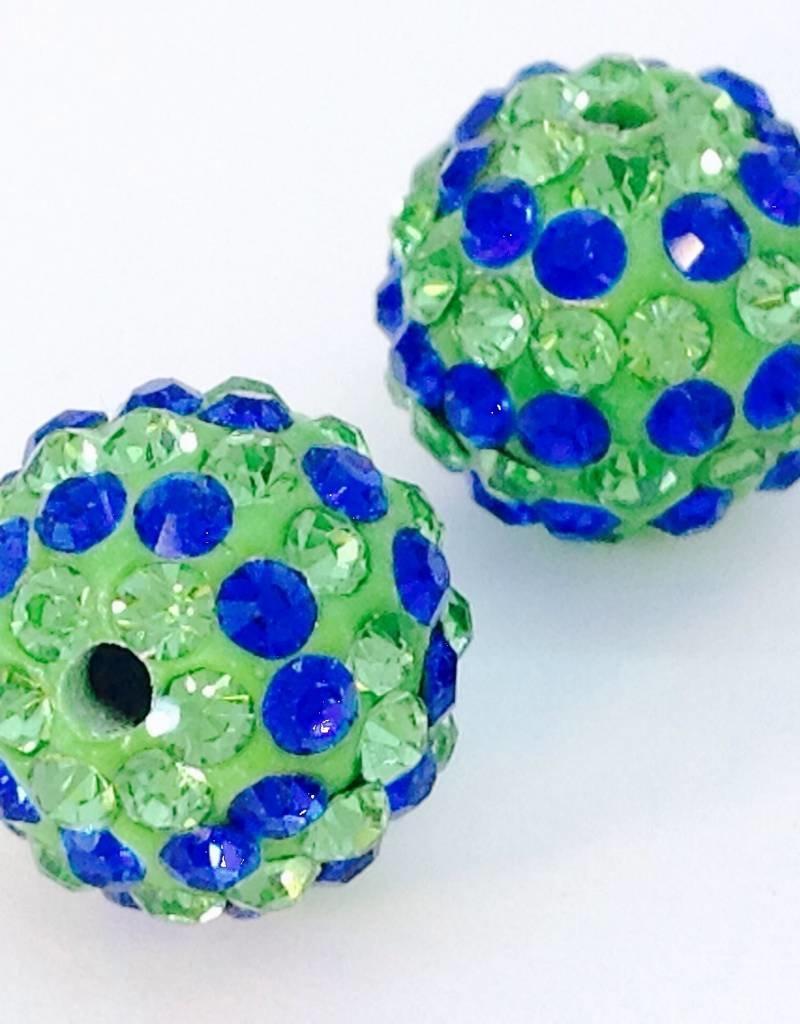 2 PC 12mm Seahawks Bling Ball Lime/Royal Blue
