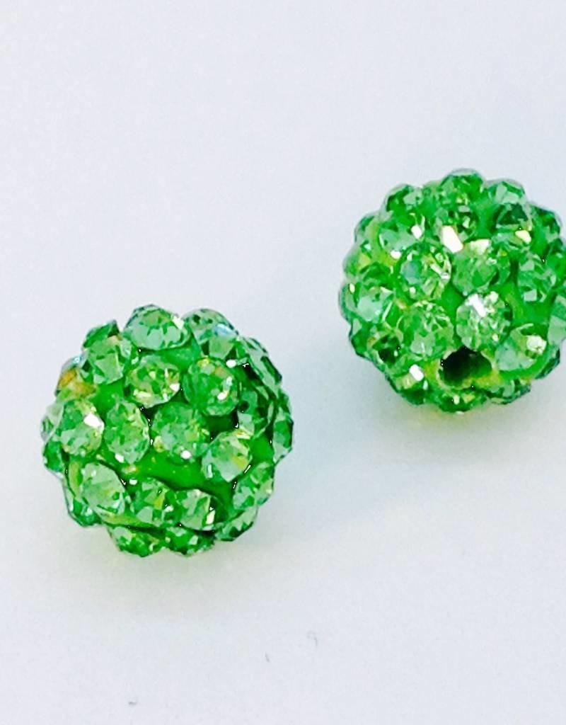 2 PC 8mm Bling Ball Lime Green