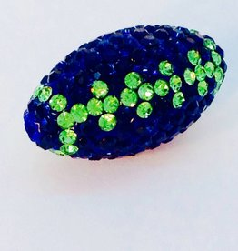 1 PC Seahawks Bling Football Dk Blue/Peridot 24x12mm