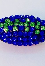 1 PC Seahawks Bling Football Royal Blue/Peridot 24x12mm