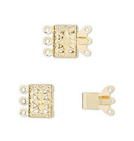 5 Set GP 10x7mm Filigree Square 3 Strand Clasp