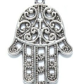 1 PC ASP 24x32mm Hand With Filigree Design Charm