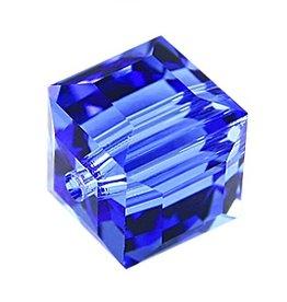 4 PC 4mm Swarovski Cube : Sapphire