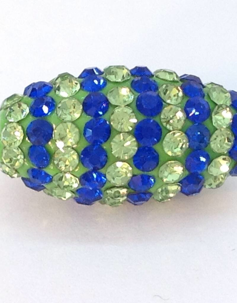 1 PC Seahawks Bling Oval Lime/Royal Blue Striped 20x10mm