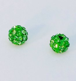 2 PC 6mm Bling Ball Lime Green