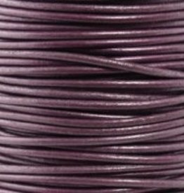 11 YD .5mm Leather Cord : Metallic Berry