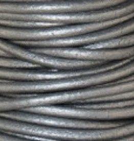 2 YD .5mm Leather Cord : Metallic Grey