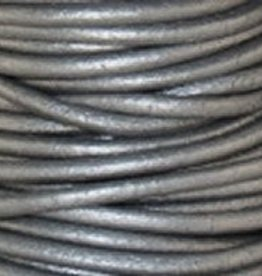 11 YD .5mm Leather Cord : Metallic Grey