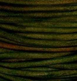 2 YD .5mm Leather Cord : Natural Dark Green