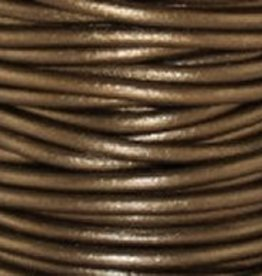 2 YD 2mm Leather Cord : Metallic Kansa