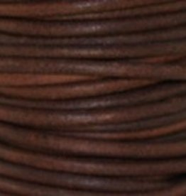 2 YD 3mm Leather Cord : Natural Red Brown