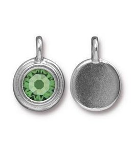 1 PC Peridot Stepped Swarovski Charm SS34