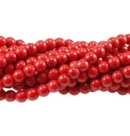 """Magnesite Red Dyed : 8mm Round 15.5"""" Strand"""