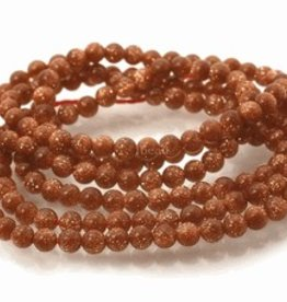 "Goldstone Brown : 4mm Round 15.5"" Strand"