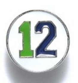1 PC 15mm #12 Button Blue & Green on White
