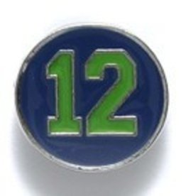 1 PC 15mm #12 Button Green on Blue