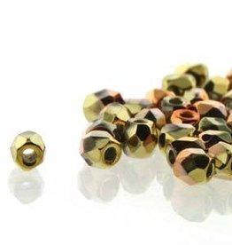 150 PC True 2mm Firepolish : Crystal CA Gold Rush