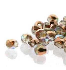 150 PC True 2mm Firepolish : Crystal Copper AB