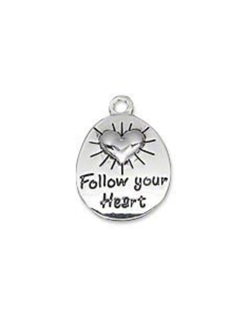 1 PC SP 15x13mm Follow Your Heart Charm