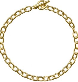 "1 PC GP 7.5"" Oval Chain Bracelet with Toggle"