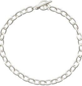 "1 PC SP 7.5"" Oval Chain Bracelet with Toggle"