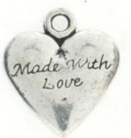 1 PC ASP 19x17mm Made With Love Heart Charm