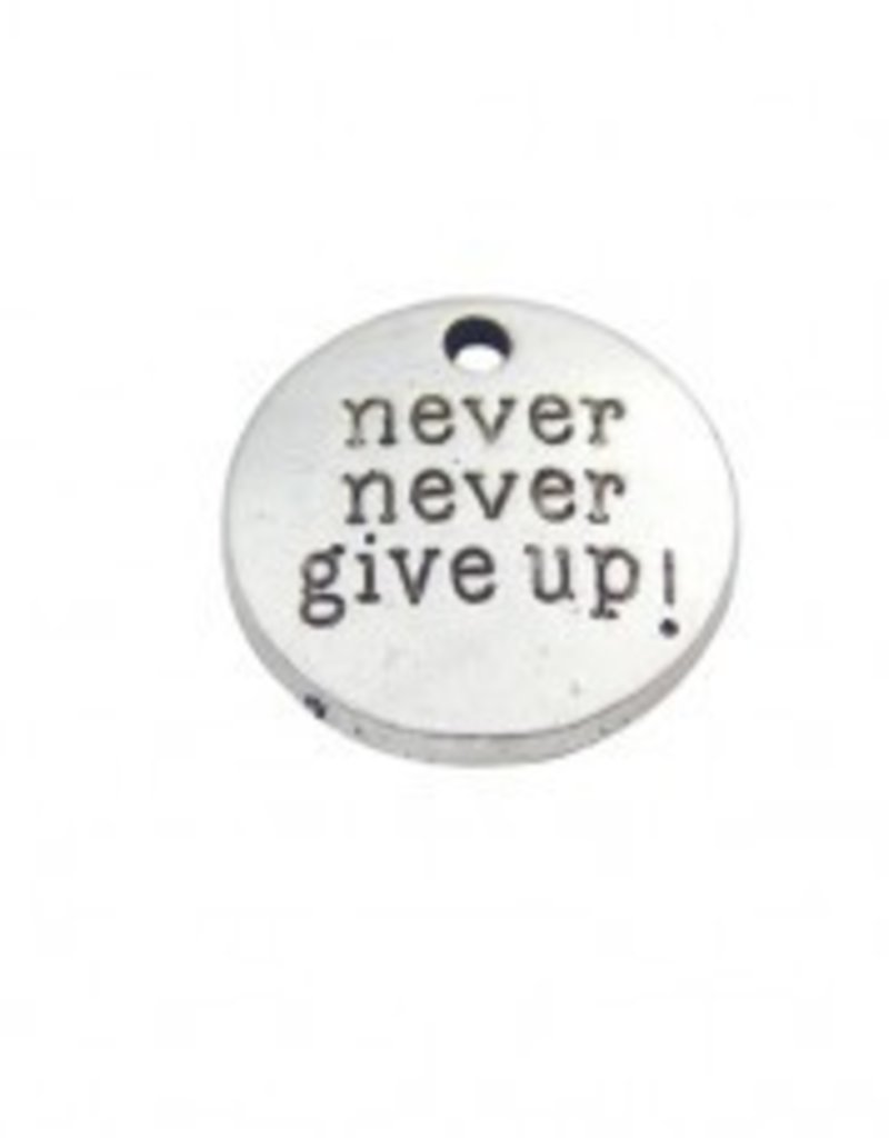 "1 PC ASP 20mm ""Never Give Up"" Charm"