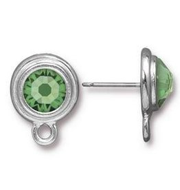 2 PC ASP Peridot Stepped Bezel Earring Post