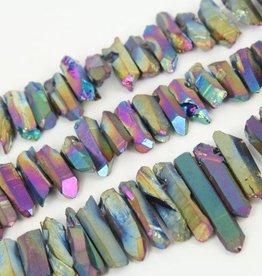 """Titanium Quartz Stick : Rainbow 15.5"""" Strand"""