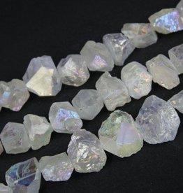 """Titanium Quartz Nugget : Rainbow White 15.5"""" Strand"""