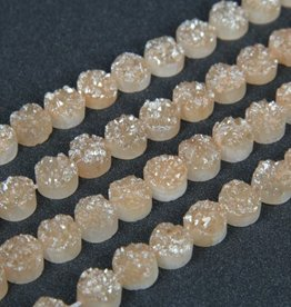 "Druzy Agate 10mm Flat Round : Champagne 8"" Strand"