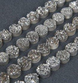 "Druzy Agate 10mm Flat Round : Silver 8"" Strand"