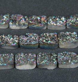 "Druzy Agate 15x20mm Flat Rect : Rainbow 8"" Strand"