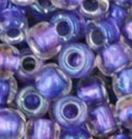 """Round 6/0 Tube 2.5"""" : Inside-Color Rainbow Crystal/Metallic Purple Lined"""