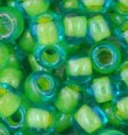 7.5 GM Toho Round 6/0 : Inside-Color Aqua/Opaque Yellow Lined